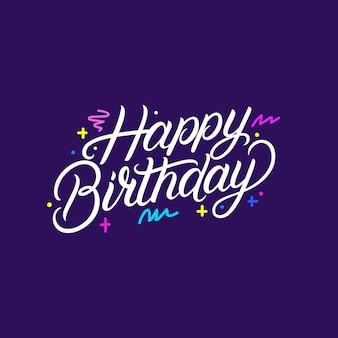 Gelukkige verjaardag handgeschreven letters. moderne borstel kalligrafie zin, citaat. origineel handgemaakt ontwerp. vector illustratie