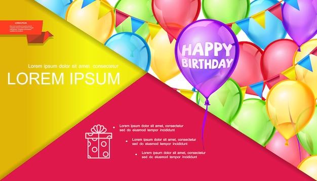 Gelukkige verjaardag heldere concept dia met kleurrijke ballonnen en slinger in realistische stijl Gratis Vector