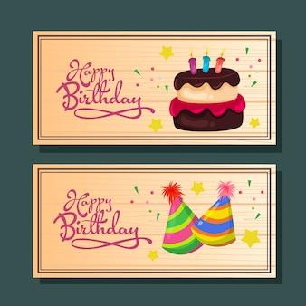 Gelukkige verjaardag horizontale wenskaart of banner met cake en feest hoed