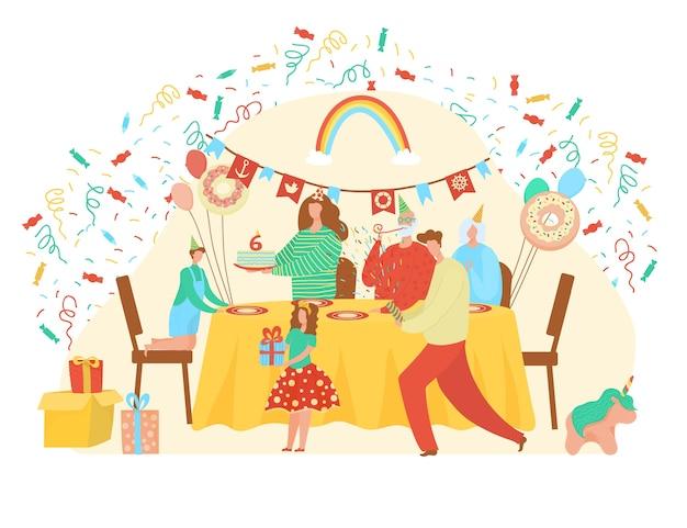 Gelukkige verjaardag illustratie. familie en vriendenkarakters die schattig meisje met cadeau en vakantiecake begroeten op geboortedatum in interieur. mensen op feestviering op wit