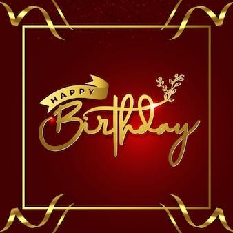 Gelukkige verjaardag in stijl belettering rode achtergrond met gouden lint frame