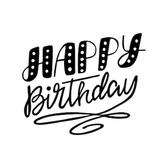 Gelukkige verjaardag inscriptie voor uitnodiging en wenskaart, prints en posters.