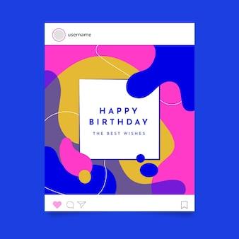 Gelukkige verjaardag instagram postsjabloon