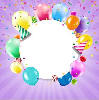 Gelukkige verjaardag-kaart met ballonnen