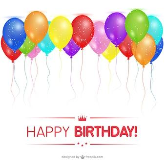 Gelukkige verjaardag kaart met ballonnen