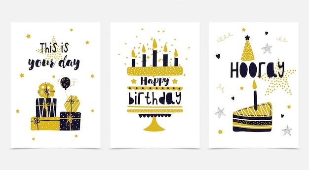 Gelukkige verjaardag kaartenset.