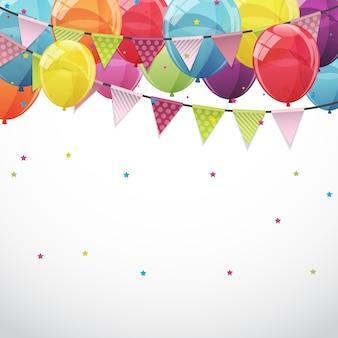 Gelukkige verjaardag kaartsjabloon met ballonnen en vlaggen illu