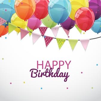 Gelukkige verjaardag kaartsjabloon met ballonnen en vlaggen vector illu