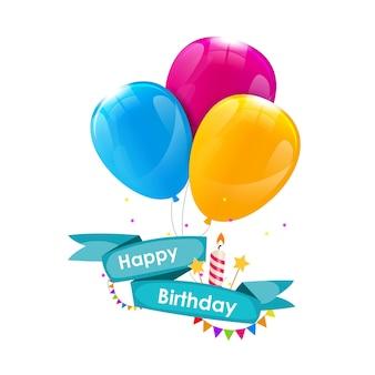 Gelukkige verjaardag kaartsjabloon met ballonnen, lint en kaars ve