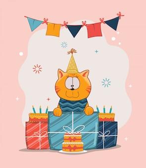 Gelukkige verjaardag kat geef een geven met taart, hoed en vlag decoratie plat
