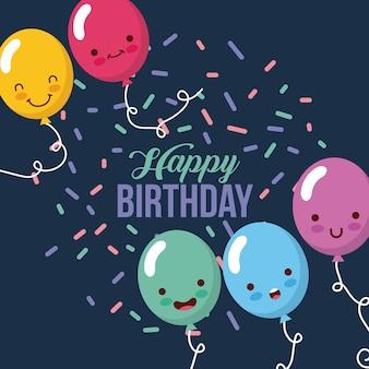 Gelukkige verjaardag kawaii ballons