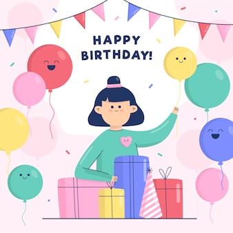 Gelukkige verjaardag kind met ballonnen en geschenken
