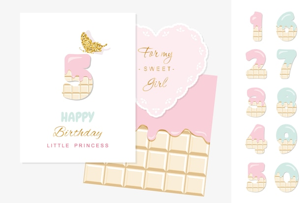 Gelukkige verjaardag kleine prinses, wenskaart met chocolade nummers ingesteld