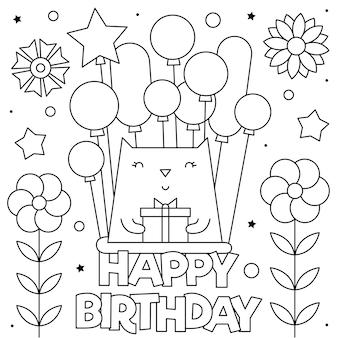 Gelukkige verjaardag. kleurplaat. zwart-wit een kat met ballonnen