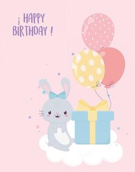 Gelukkige verjaardag konijn cadeau en ballonnen viering decoratie kaart