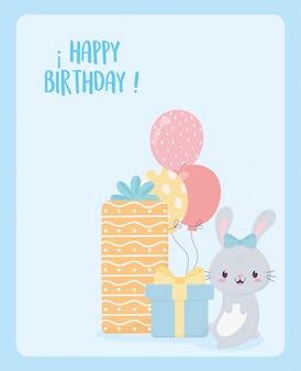 Gelukkige verjaardag konijn geschenken en ballonnen viering decoratie kaart