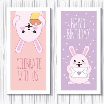 Gelukkige verjaardag konijnen kawaii cartoon vieren kaart