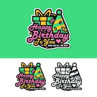 Gelukkige verjaardag label