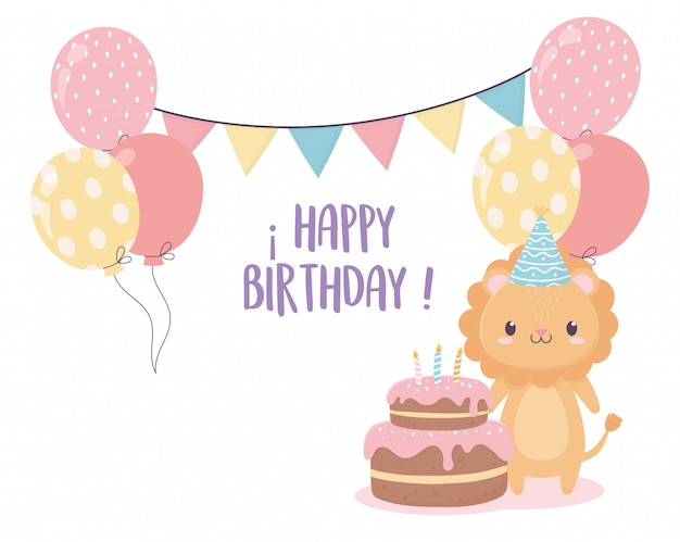 Gelukkige verjaardag leeuw cake ballonnen vlaggen viering decoratie kaart