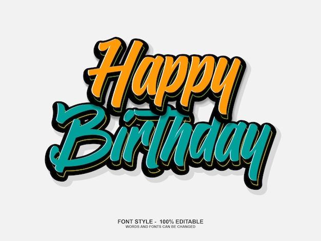 Gelukkige verjaardag lettertypestijl bewerkbaar