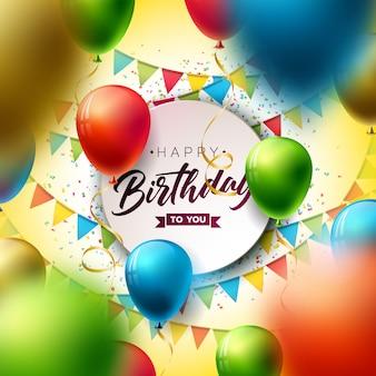 Gelukkige verjaardag met ballon, typografie en vallende confetti.