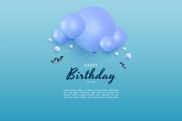 Gelukkige verjaardag met ballondecoratie en kleine bal op het schrift