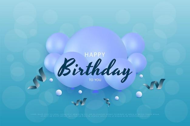 Gelukkige verjaardag met ballondecoratie in het midden