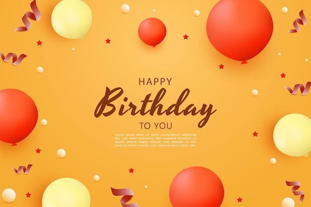 Gelukkige verjaardag met ballonnen achtergrond van verschillende maten