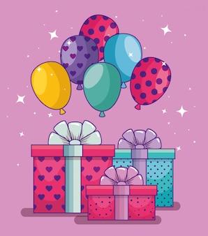 Gelukkige verjaardag met ballonnen en geschenken presenteert