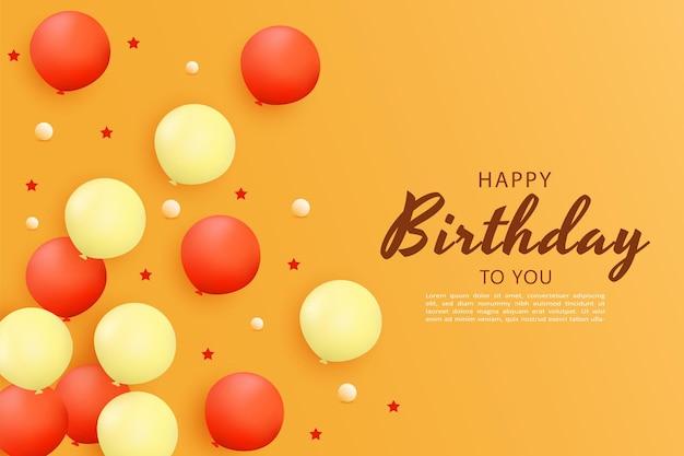 Gelukkige verjaardag met ballonnen verspreid aan de zijkant