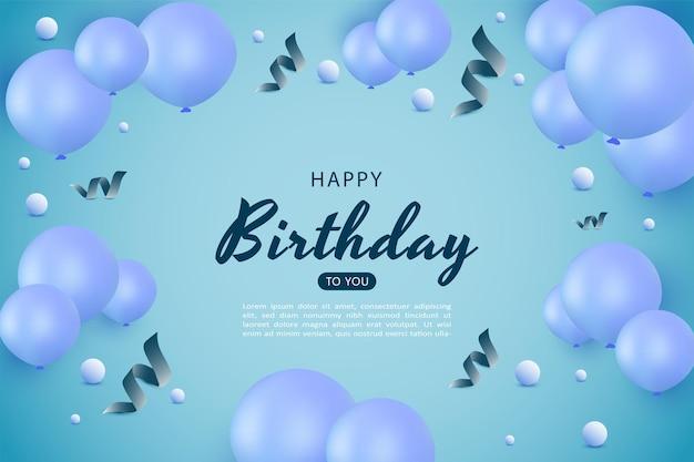 Gelukkige verjaardag met blauwe ballondecoratie en blauw gebogen lint