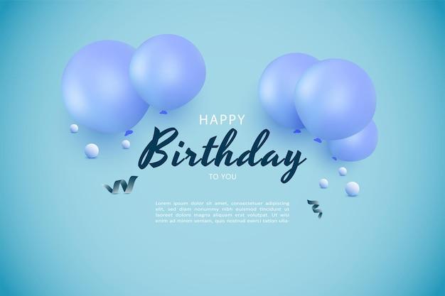 Gelukkige verjaardag met blauwe ballondecoratie gestapeld bovenop het schrijven