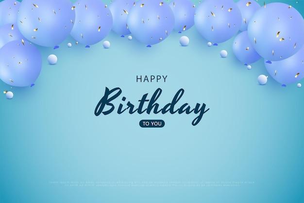 Gelukkige verjaardag met blauwe ballondecoratie over vector