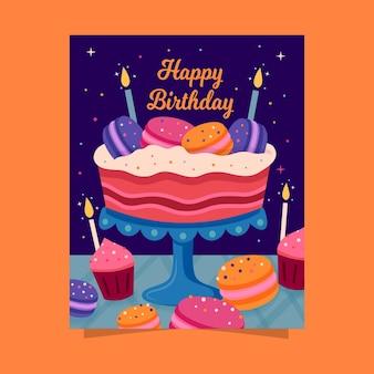 Gelukkige verjaardag met cake en kaarsen