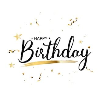 Gelukkige verjaardag met confetti en glanzend glitterlint