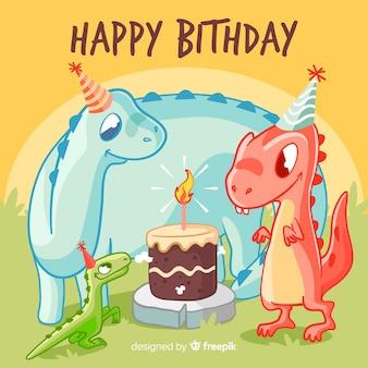 Gelukkige verjaardag met dinosaurussen en cake