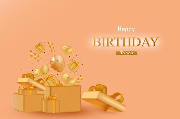 Gelukkige verjaardag met een geschenkdoos bevat ballonnen