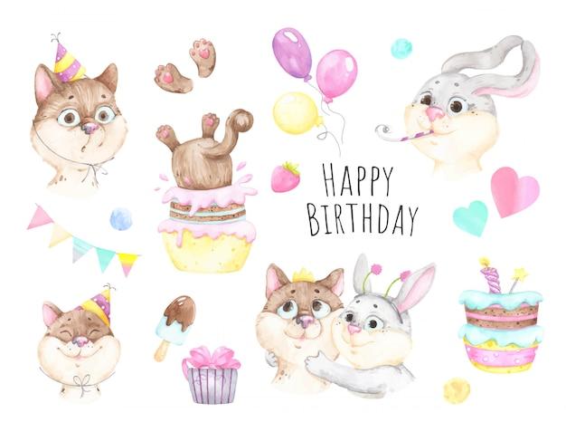 Gelukkige verjaardag met een kat en een konijn en cadeautjes