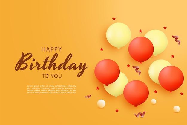 Gelukkige verjaardag met een klein ballonlichteffect van bovenaf