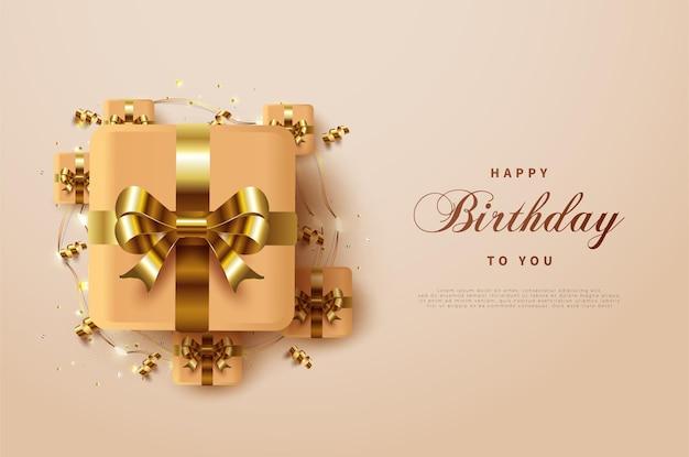 Gelukkige verjaardag met een luxe geschenkdoos van goudkleurig lint omringd door andere kleine doosjes.