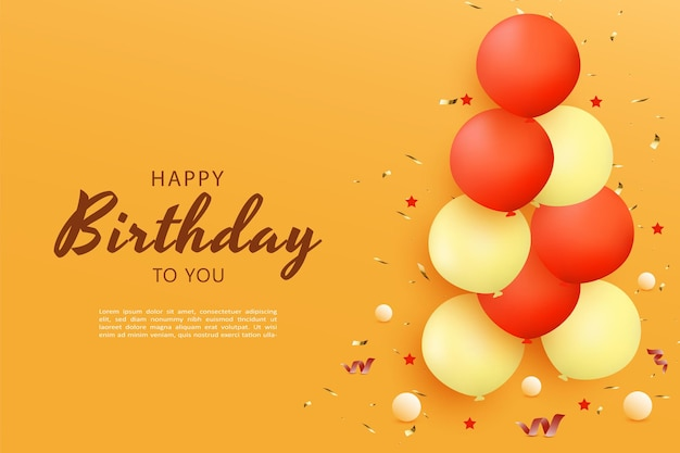 Gelukkige verjaardag met een stapel ballonnen aan de zijkant met kleine balletjes en linten