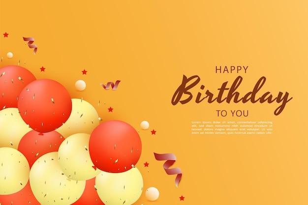 Gelukkige verjaardag met een stapel ballonnen en rode linten hieronder