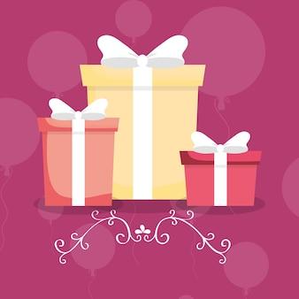 Gelukkige verjaardag met geschenk dozen pictogram boven ballonnen en paarse achtergrond
