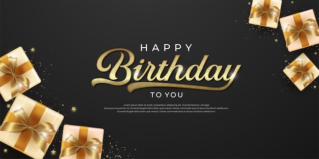 Gelukkige verjaardag met geschenkdoos op donkere achtergrond
