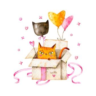 Gelukkige verjaardag met kat in geschenkdoos en ballonnen.