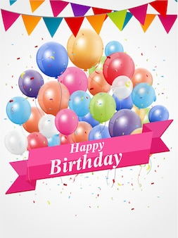 Gelukkige verjaardag met kleurrijke ballon en confetti