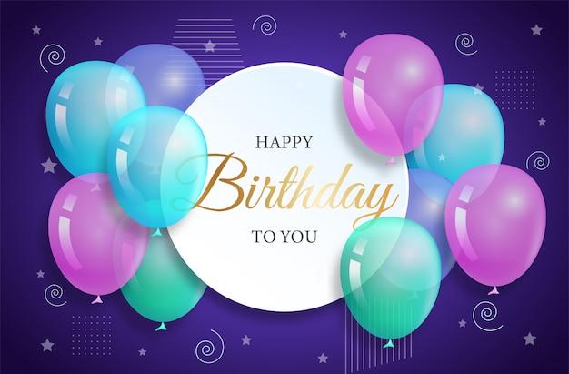 Gelukkige verjaardag met kleurrijke ballon