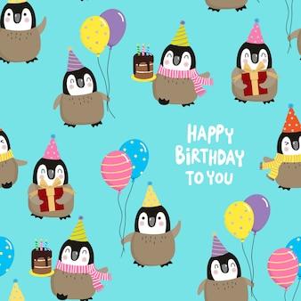 Gelukkige verjaardag met pinguins naadloze patroon