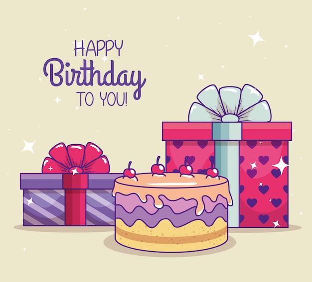 Gelukkige verjaardag met presenteert geschenken en strik