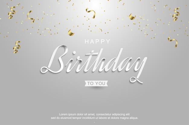 Gelukkige verjaardag met realistisch gouden lint